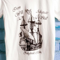 Hand Drawn Screen Printed Ship tee