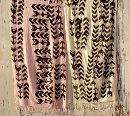 Hand screen printed arrow scarves