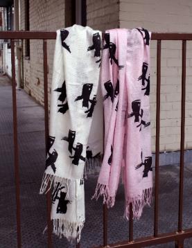 Logo scarves, hand screen printed