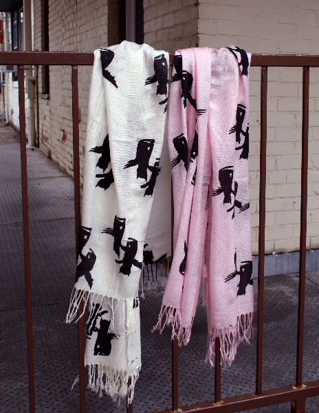 Logo scarves, hand screen printed