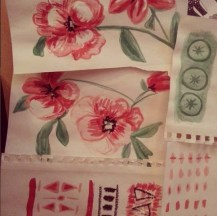 Hand Painted textiles in progress
